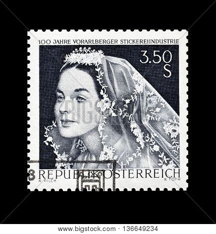 AUSTRIA - CIRCA 1968 : Cancelled postage stamp printed by Austria, that shows Bride.