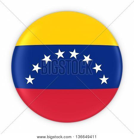 Venezuelan Flag Button - Flag Of Venezuela Badge 3D Illustration