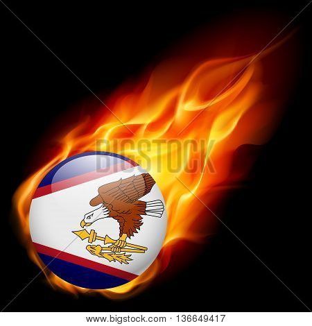 Flag of American Samoa as round glossy icon burning in flame