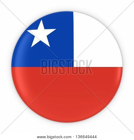 Chilean Flag Button - Flag Of Chile Badge 3D Illustration