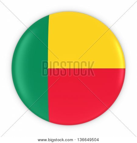 Beninese Flag Button - Flag Of Benin Badge 3D Illustration
