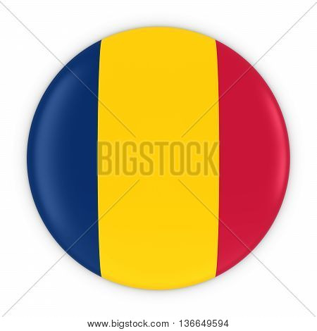 Chadian Flag Button - Flag Of Chad Badge 3D Illustration