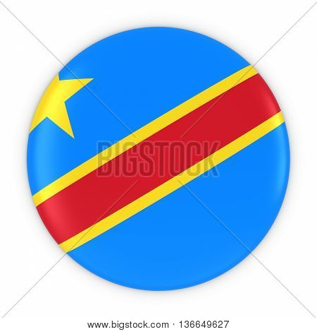 Congolese Flag Button - Flag Of Dr Congo Badge 3D Illustration