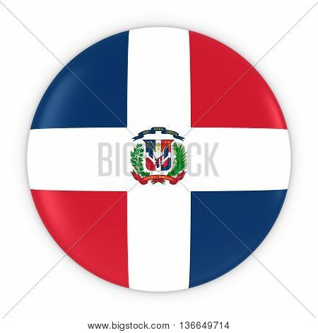 Dominican Flag Button - Flag Of The Dominican Republic Badge 3D Illustration