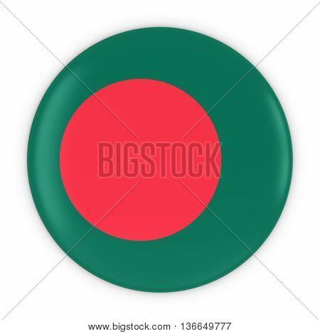 Bangladeshi Flag Button - Flag Of Bangladesh Badge 3D Illustration