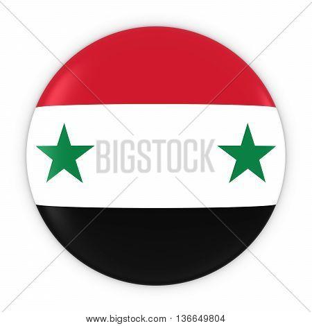 Syrian Flag Button - Flag Of Syria Badge 3D Illustration