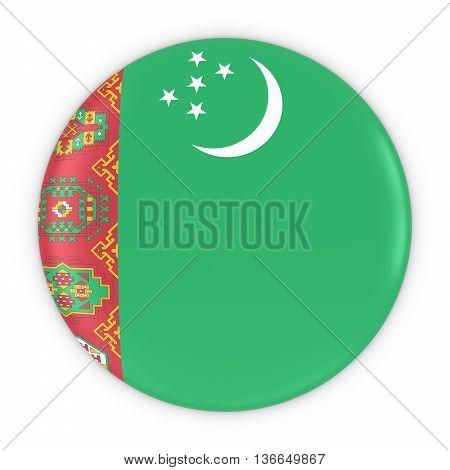 Turkmen Flag Button - Flag Of Turkmenistan Badge 3D Illustration
