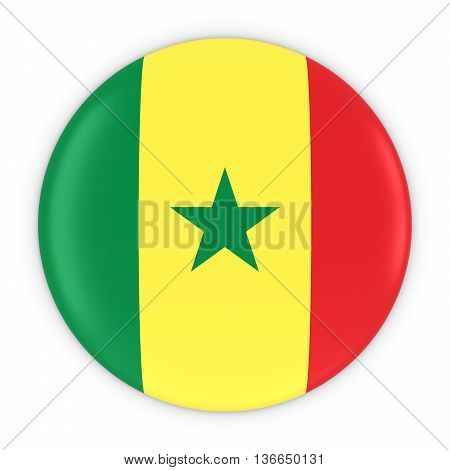 Senegalese Flag Button - Flag Of Senegal Badge 3D Illustration