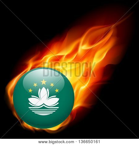 Flag of Macau as round glossy icon burning in flame