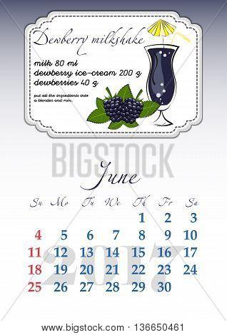 Calendar design grid with recipes for fruit cocktails smoothies fruit drinks lemonades juices and dates of summer month June 2017. Vector illustration