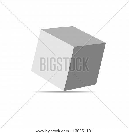 Vector white cube isolated on white background. Simple cube - vector illustration.
