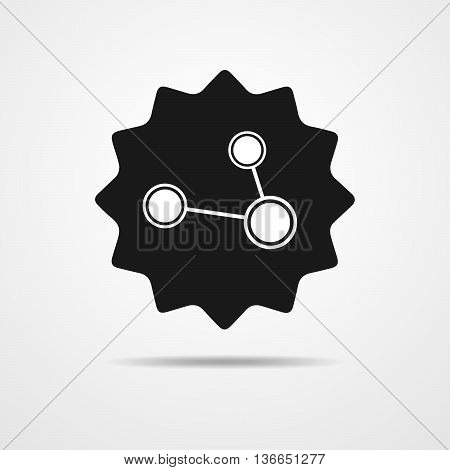 Social network black single icon. Global technology or social network.