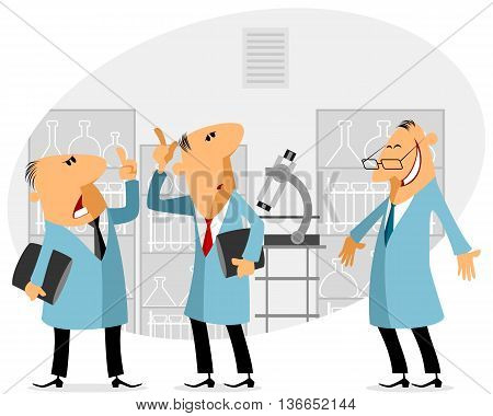 Vector illustration of a three scientist talking