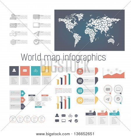 Set of colored infographics color elements. Detail infographic vector illustration. World Map and Information Graphics.