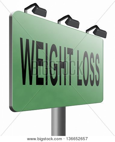 weight loss lose extra pounds by sport or dieting losing overweight kilos and stop obesity road sign billboard, 3D illustration