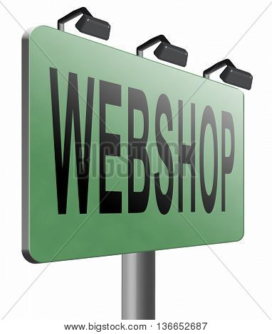 web shop or online shopping sign for internet webshop or store, 3D illustration