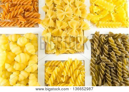 Pasta Mix Arranged In A Wooden Frame