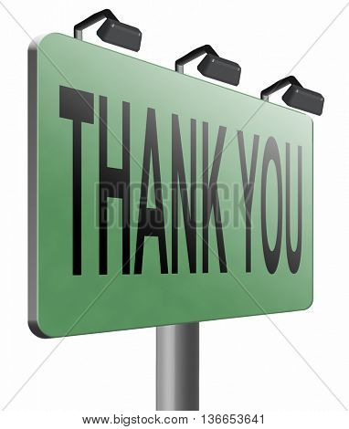 thank you vary much many thanks sign showing gratitude, 3D illustration, isolated on white