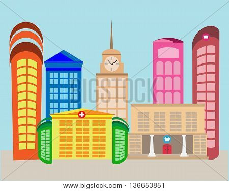 Vector design of urban landscape of houses and life style