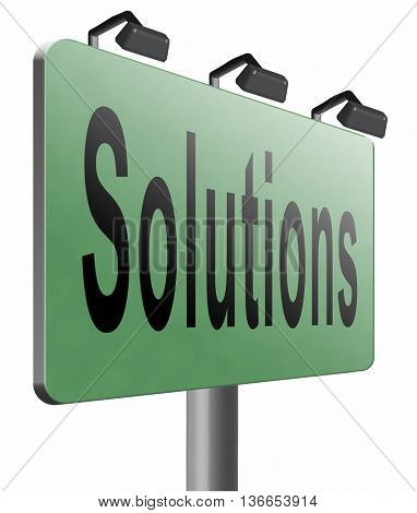 solutions solve problems and search and find a solution road sign billboard, 3D illustration, isolated on white