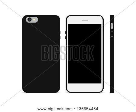 Blank black phone case mock up stand isolated 3d illustration. 3 sides. Empty smart phone cover mockup ready for logo texture print presentation. Cellphone plastic protector cover concept. Smartphone casing design.