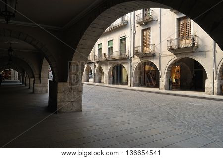 View of the Vi Square in Girona, Spain