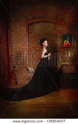 Sensual Gothic Woman In A Long Gorgeous Black Dress