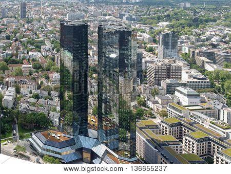 FRANKFURT AM MAIN GERMANY - CIRCA JUNE 2013: The Deutsche Bank headquarters