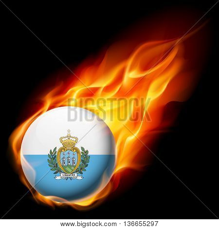 A round badge in the colours of Flag of San Marino burning in flame