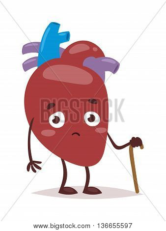Heart problems atrium medical structural heart anatomy. Blood pressure cardiology structure sickness organ heart problems. Healthcare illness heart problems stress anatomy vector character.