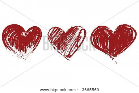 three hearts vector