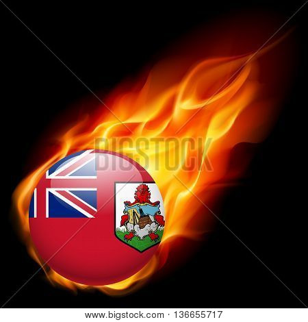Flag of Bermuda as round glossy icon burning in flame