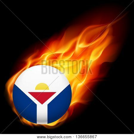 Flag of Saint Martin as round glossy icon burning in flame