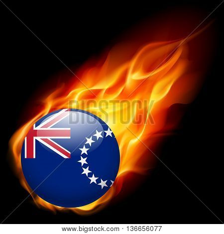 Flag of Cook Islands as round glossy icon burning in flame