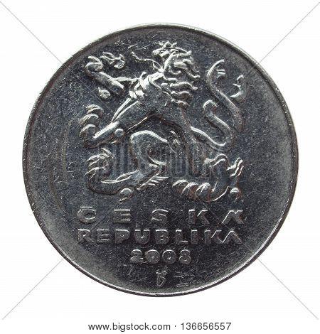 Czech korunas CZK (legal tender of the Czech Republic) coin