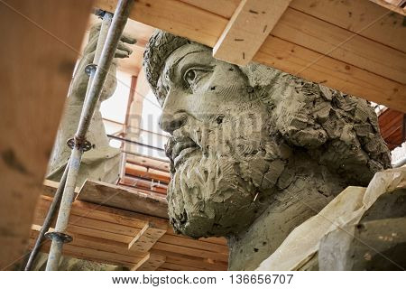 RUSSIA, MOSCOW - MAY 28, 2015: Head of clay sculpture to St. Prince Vladimir during manufacture in the workshop of sculptor Salavat Shcherbakov. Monument will be installed at Borovitskaya square.