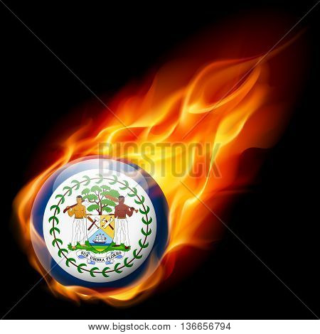 Flag of Belize as round glossy icon burning in flame