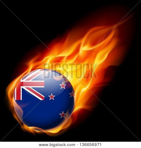 Flag of New Zealand as round glossy icon burning in flame