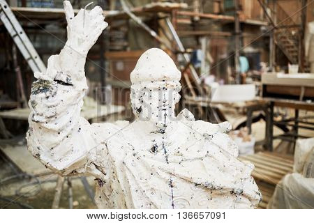 RUSSIA, MOSCOW - MAY 28, 2015: Working prototype of sculpture to St. Prince Vladimir in the workshop of sculptor Salavat Shcherbakov. Monument will be installed at Borovitskaya square.