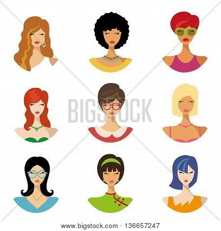 Vector flat avatars.Beautiful girls, woman, female.Various hair style icons, different fashion look set.European, Asian American woman app icons in trendy flat style.Fashion vector, image, look