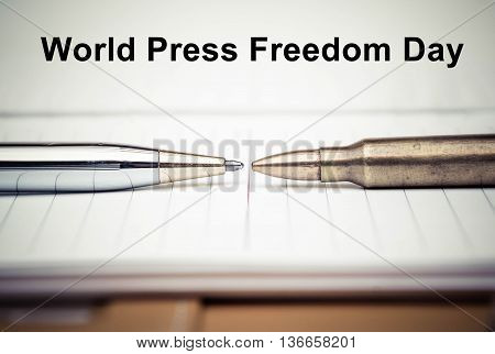 Pen vs. Bullet / Freedom of the press is at risk concept / World press freedom day concept