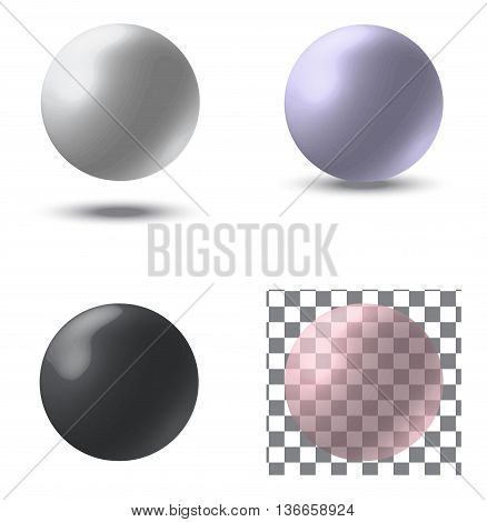 set of vector pearls objects with a shadow
