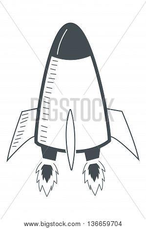 simple flat design toy rocket icon vector illustration