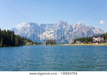 Lake Misurina tourist centrum in the Dolomite Mountains Italy.