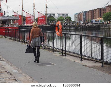 Woman Walking In Liverpool