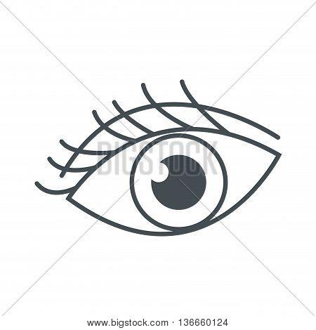 simple flat design eye with eyelashes icon vector illustration