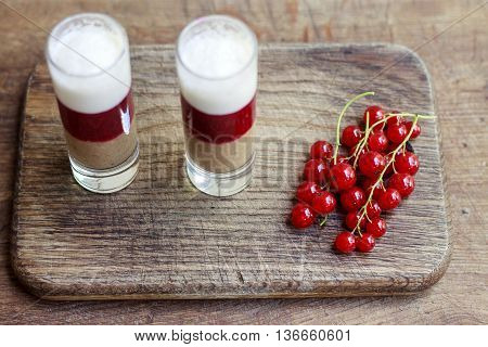Fresh Milk, Strawberry, Blueberry And Banana Drinks On Wodeen Table, Assorted Protein Cocktails With