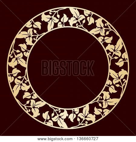 Openwork golden circular frame with leaves. Laser cutting template for greeting cards envelopes wedding invitations.
