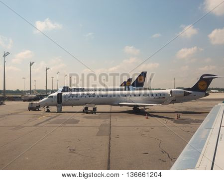 Lufthansa Planes At Airport In Munchen