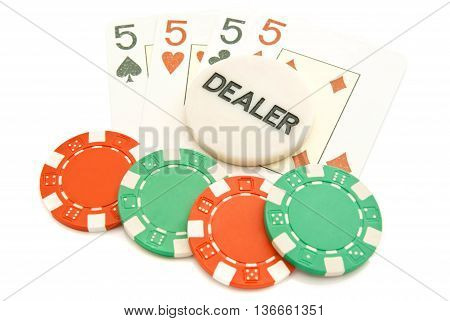 Four Playing Cards And Chips